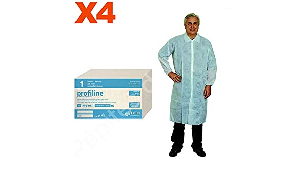 Bata de protección blanca desechable talla XXL botones presión - Juego 4 Blouses de protección - pdm-pfl05 - 4 by Pépites del mundo: Amazon.es: Salud y ...