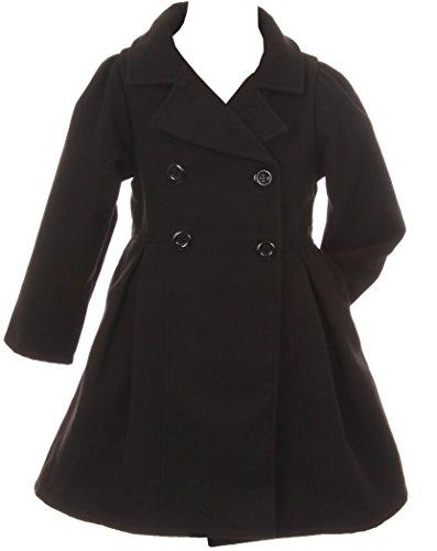 Dreamer P Big Girls' Cozy Long Sleeve Collar Button Flower Girl Coat Jacket Cover Outerwear Black 14 (J20K49S) by Dreamer P