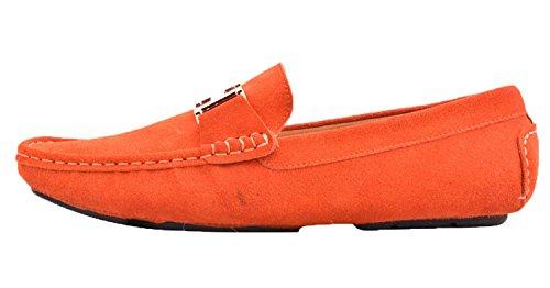 Santimon Mens Läder Slip-on Tillfällig Spänne Dagdrivare Kör Mens Bil Skor Moc Skor Orange-guld