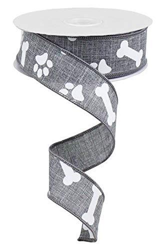 (Paw Print & Dog Bone Wired Edge Ribbon, 10 Yards (Grey, White, 1.5