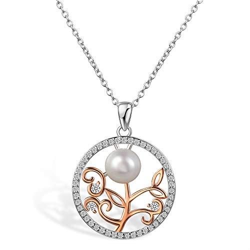 Aroncent Collar Mujer de 925 Plata de Ley Colgante Anillo Árbol de Vida Flor con Perla Circonita Cadena Ajustable Joyería...
