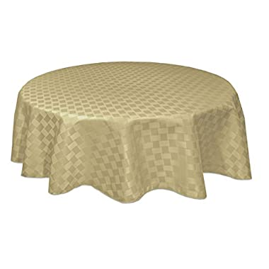 Bardwil Reflections Spill Proof 70  Round Tablecloth, Khaki