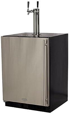 "Marvel ML24BTS2LS Twin Tap Built-In Beer Dispenser with Left Side Hinge, 24"", Stainless Steel"
