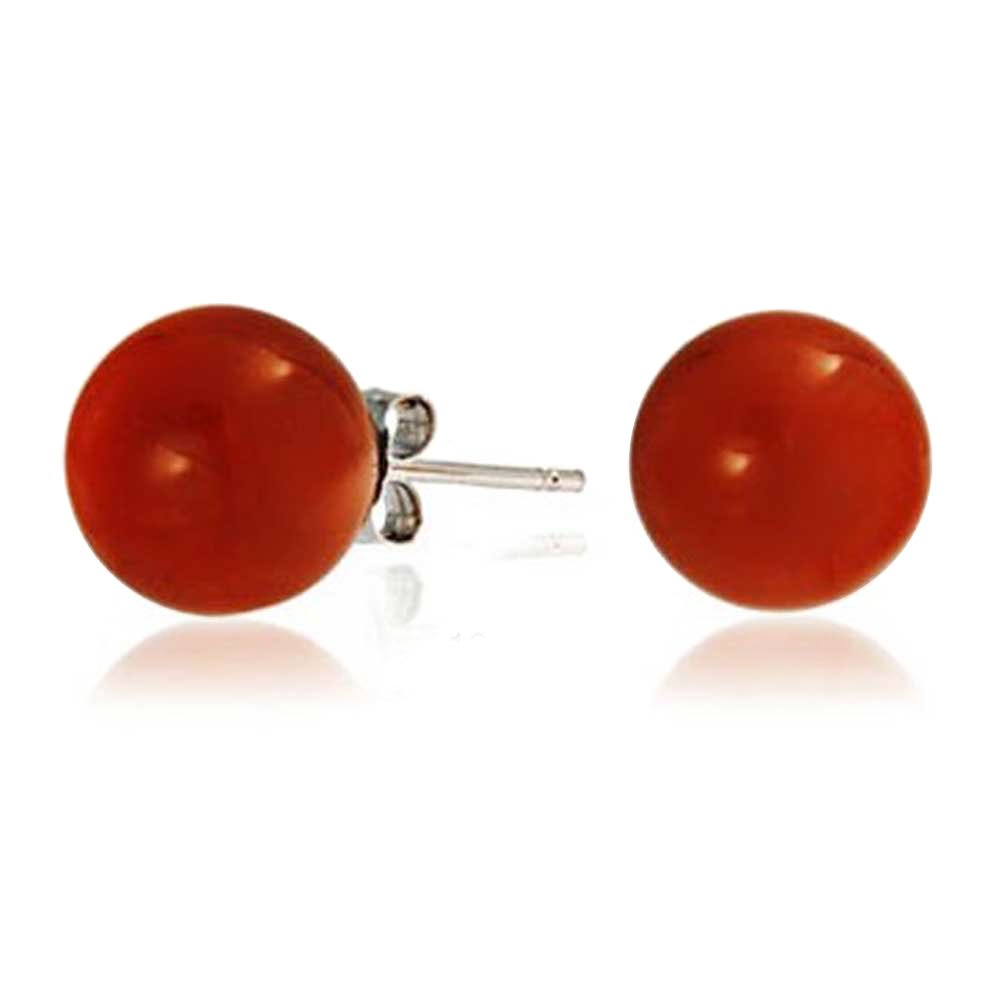 Round Dyed Carnelian Bead Sterling Silver Ball Studs 10mm
