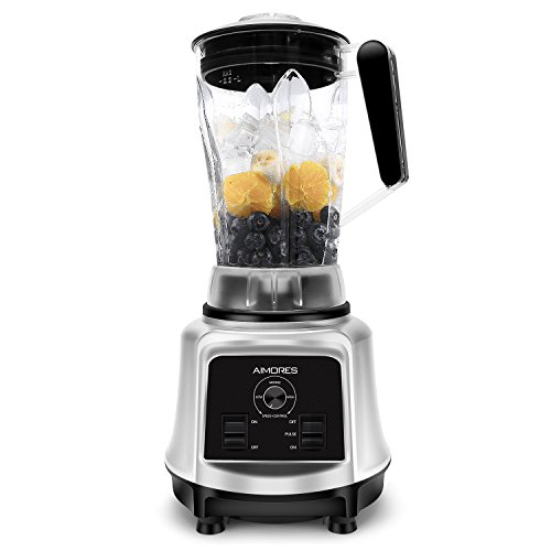 Aimores Commercial Blender for Shakes and Smoothies, Food Processor, Heavy Duty Juice Blender, 75oz Pitcher, 6 Sharp Blades, Variable Speed Control, with Tamper & Recipe, ETL/FDA Certified (Silver)