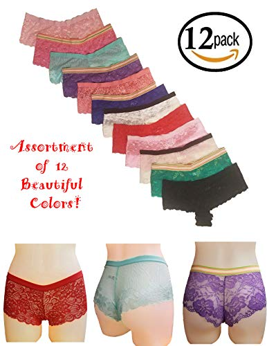 MoDDeals Woman's Plus Size Floral Lace Cheeky Boyshort Elastic Waist Underwear Panties 12 Pack (2X/3X)