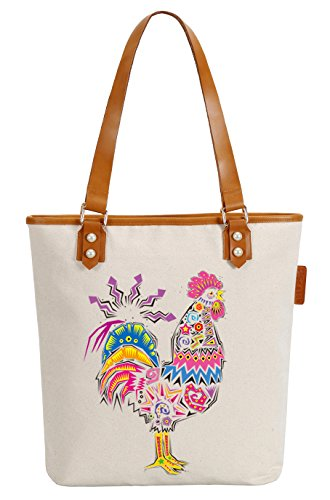 So'each Women's Azgtec Cock Canvas Tote Pearly Top Handle Shoulder Bag