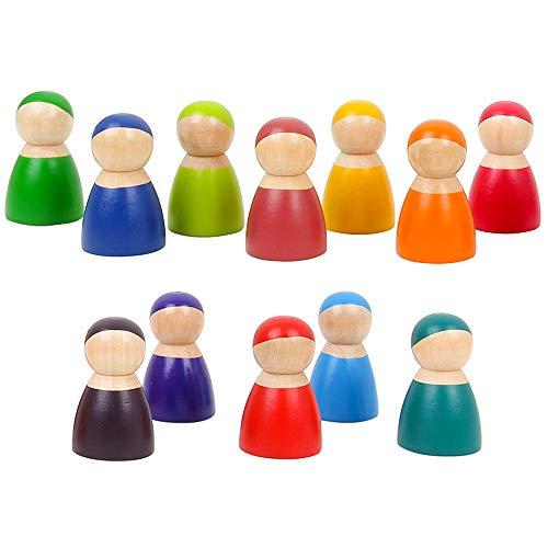 Peg Rainbow (Minelody Rainbow Doll Blocks, 12Pcs Colorful Children Wooden Rainbow Friends Peg Dolls)