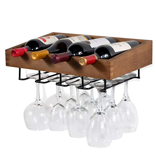 Rack Antique Walnut Wine (brightmaison Wall Mounted Walnut Stained Wood Wine Stem Rack for 4 Bottles and Stemware Glass Storage)