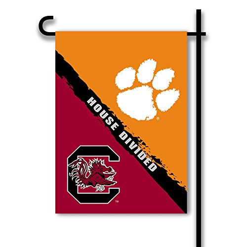 NCAA Clemson Tigers House Divided 2 Sided Garden Flag, One Size, (House Divided Garden Flag)