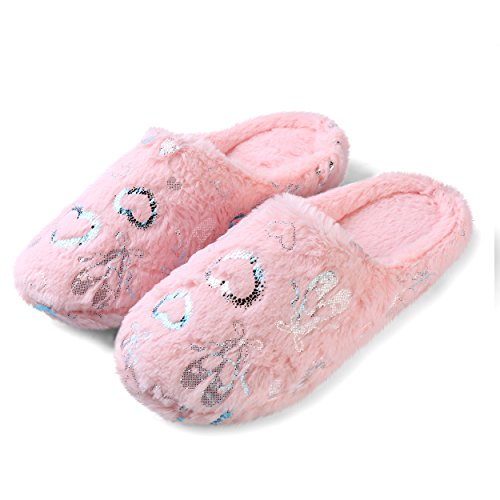 Aerusi Heavenly Heart Womens Us Size Cozy Pantofole In Peluche Rosa Caro