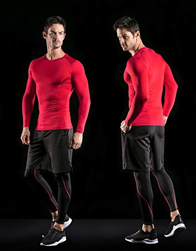 ATHLIO AO-BLS01-KCR_Large Men's (Pack of 3) Cool Dry Compression Long Sleeve Baselayer Athletic Sports T-Shirts Tops BLS01 by ATHLIO (Image #5)