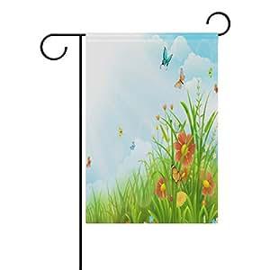 XMCL - Bandera decorativa de doble cara con diseño de mariposas y cielo azul, 30,5 x 45,7 x 101,6 cm