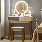 CHARMAID Vanity Set with 3 Color Touch Screen Dimming Mirror, Dressing Table with 4 Sliding Drawers and Touch-Screen Light Control Mirror, Makeup Table and Cushioned Stool Set for Women Girls (Gray)