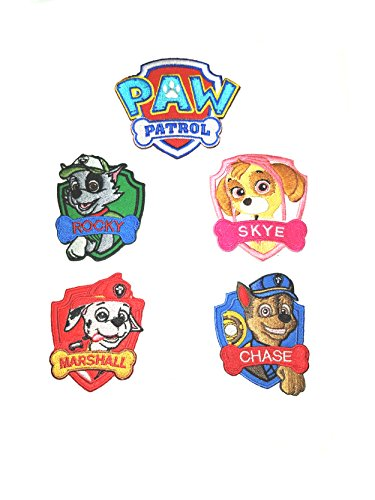 Kids Application 5 Piece Paw Patrol Assortment Decorative Embroidered DIY Easy Iron or Sew-on Applique Patch By Superheroes Brand (Diy Wonder Woman Costume Accessories)
