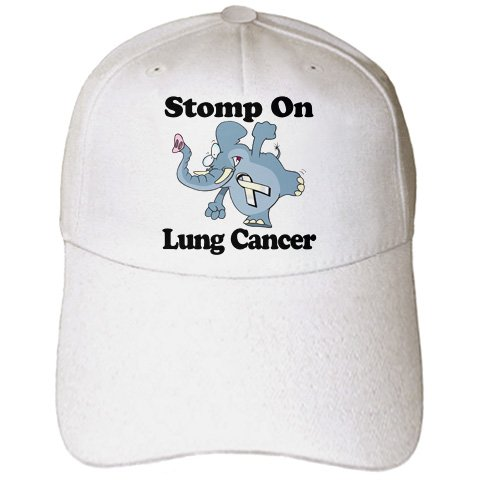 Dooni Designs Cause Awareness Ribbon Designs - Elephant Stomp On Lung Cancer Awareness Ribbon Cause Design - Caps - Adult Baseball Cap (cap_114587_1) -
