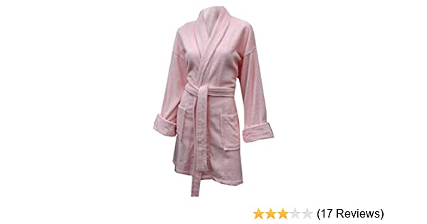 315a089f02 Aegean Apparel Women s Short Solid Terry Loop Robe in Light Pink ...