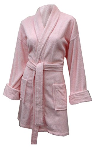 - Aegean Apparel Women's Short Solid Terry Loop Robe in Light Pink, One Size