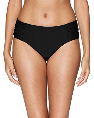 vivicoco Ruched Bikini Bottom for Women Black Swim Bottom Full Coverage M