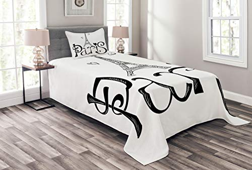 Lunarable Paris Bedspread, Illustration with Eiffel Tower France Heart Shapes Silhouette Vacation Theme Art, Decorative Quilted 2 Piece Coverlet Set with Pillow Sham, Twin Size, White Black -