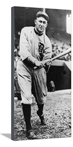 ArtEdge Ty Cobb, Star of The Detroit Tigers, Batting in 1910, Stretched Canvas Print, 15 x 29.5 in (Batting Tigers)