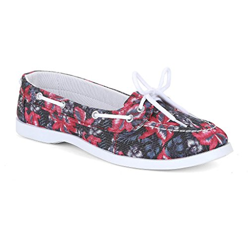 Twisted Women's BONNIE Tropical Inspired Canvas Athletic Boat Shoe - PINK, Size 8