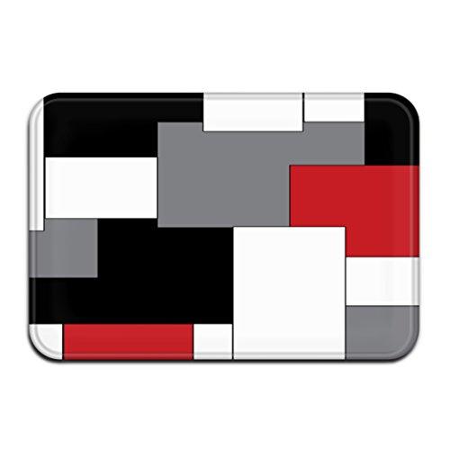 White,Grey,Black and Red Irregular Geometric Splicing Print Door Mat Entrance Mat Floor Mat Rug Indoor/Outdoor/Front Door/Bathroom/Kitchen Mats Rubber Super Absorbent Non Slip (23.6x15.7 60cmx40cm)