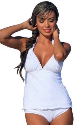 UjENA Gauze White Tankini Swim Dress Swimsuit - Top LL
