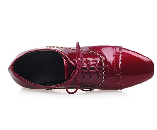 Eté Richelieu 32 Talon Oaleen T Femme Derbies Vintage Lacets Brogue 46 Bloc Brodeaux Vernis Rougee Chaussures S10xqv