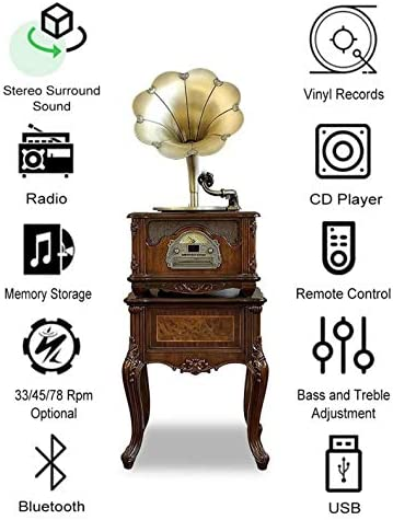 Gramophone Record Player With Speakers Modern, 3 Speed Turnt