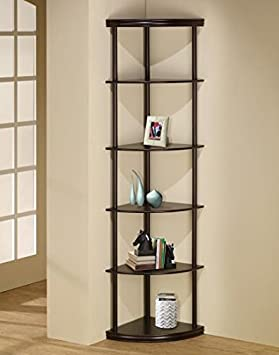 5-Shelf Corner Bookshelf Cappuccino