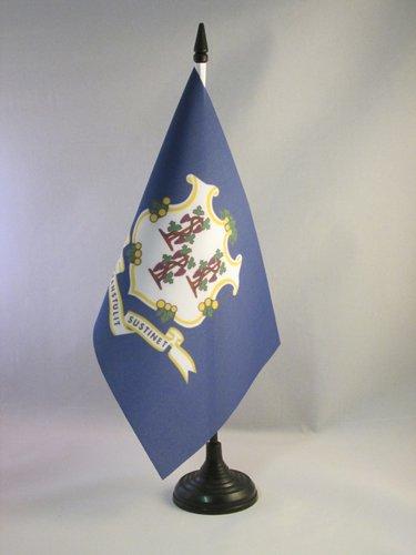 AZ FLAG Connecticut Table Flag 5'' x 8'' - US State of Connecticut Desk Flag 21 x 14 cm - Black Plastic Stick and Base