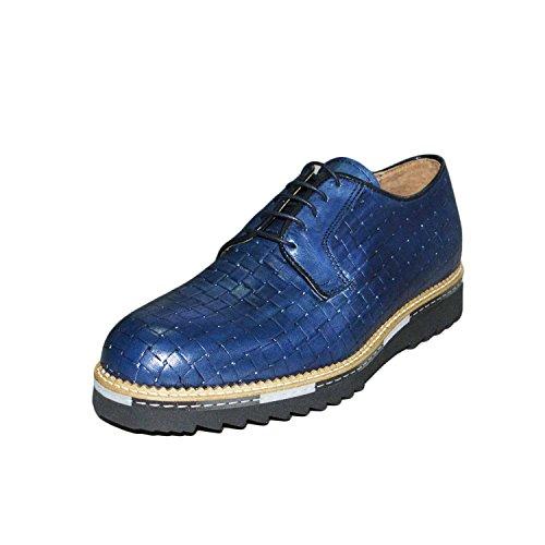 Francesina college scarpe uomo intreccio blu vera pelle crust fondo ziglinato ultraleggero made in italy