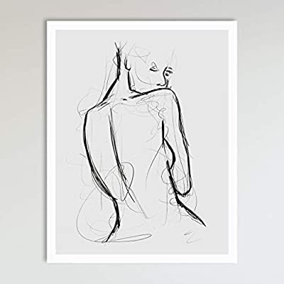 Seduction, Grey and Black Abstract Nude Woman Drawing, Contemporary Wall Art For Bedroom and Home Decor, Black and Grey… -  - wall-art, living-room-decor, living-room - 41Ctu4GT07L. SS400  -