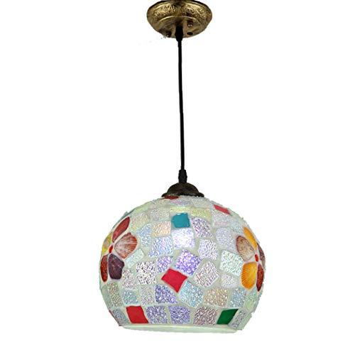 YDYG Lustres en Verre MultiCouleures méditerranéens à Une Seule Lampe Suspendue pour la Salle à Manger Plafonniers d'entrée Couloir Balcon Bar E27, MAX60W,25cm