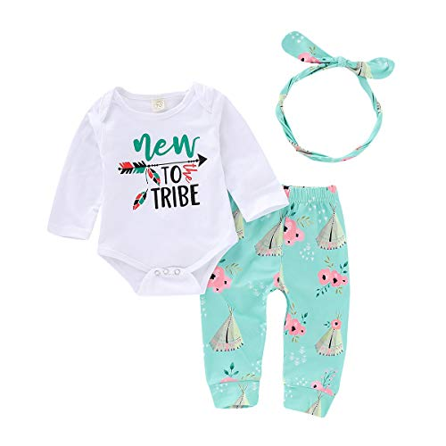 (Floral Newborn Girls 3 Piece Long-Sleeve Tee Leggings with Headband Clothes Set 0-24M (New to The Tribe, 12-18 Months))