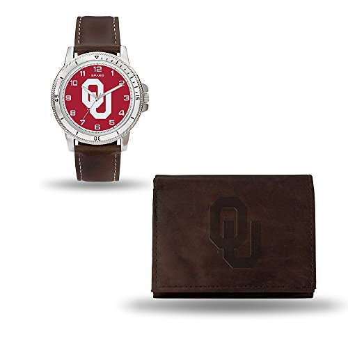 Rico Industries NCAA Oklahoma Sooners Men's Watch and Wallet Set, Brown, 7.5 x 4.25 x 2.75-Inch