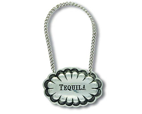 - Vagabond House Pewter Western Concho TEQUILA Decanter Tag/Liquor Bottle Label 2.5