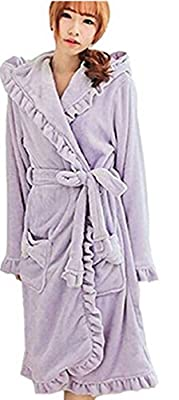 SDZYY Women's Lovely Flounced Bathrobe With Thick Flannel Shaggy Long Nightgowns