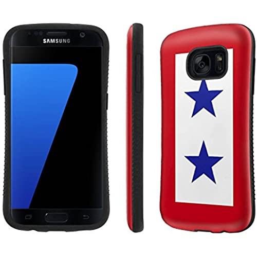 Galaxy [S7] Tough Designer Case [SlickCandy] [Black Bumper] Ultra Shock Absorbent - [Service Mother Blue Stars 2] for Samsung Galaxy S7 / GS7 Sales