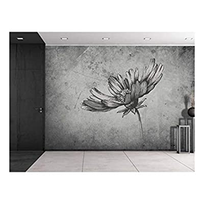 Majestic Craft, Created By a Professional Artist, Daisy Sitting on a Grayscale Grungy Texture with a Vignette Effect Around It Wall Mural Removable Vinyl Wallpaper