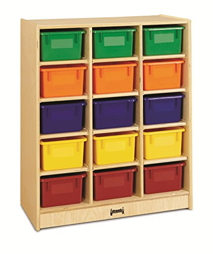 Jonti-Craft 0648JC 15 Cubbie-Tray Mobile Unit with Colored Trays