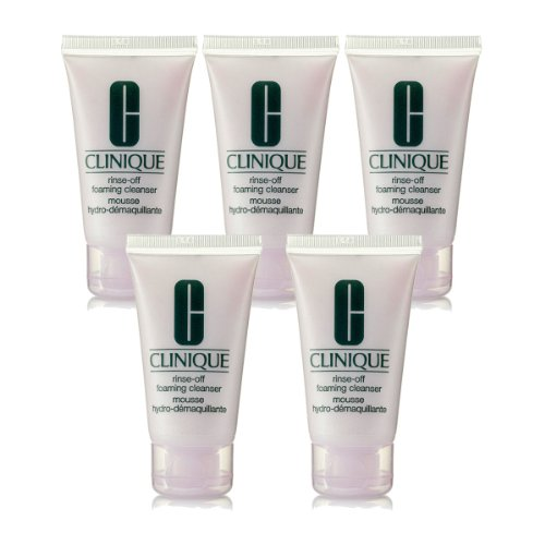 clinique rinse-off foaming cleanser /travel size 1 oz x 5 tubes