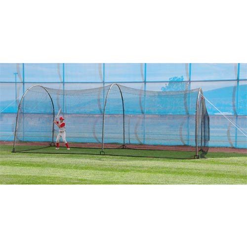 (HEATER SPORTS Xtender 24' Baseball and Softball Batting Cage Net and Frame, With Built In Pitching Machine Harness For Safety (Machine NOT Included))