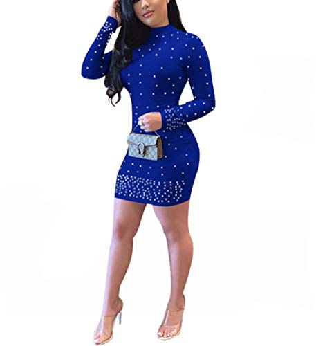 Yeshire Womens Long Sleeve Sexy Elegant Turtleneck Pearled Solid Color Mini Club Bodycon Party Dress Large Blue1