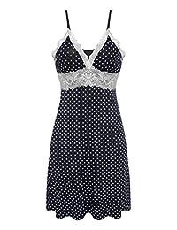 Ekouaer Womens Lace Full Slip Sleepwear Chemise Lounge Dress Adjustable Strap
