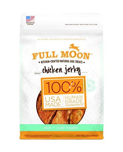 Full Moon All Natural Human Grade Dog Treats for Skin Plus Coat Health, Chicken Jerky, 12 Ounce