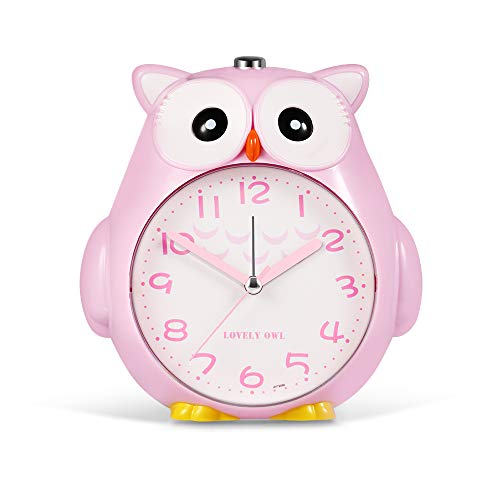 - SkyNature Kids Alarm Clock,Owl Dual Alarm with Night Light and Snooze,Silent Non-Ticking Battery Operated Loud Alarm Clock for Girls Bedroom Decor, Easy to Set - Pink