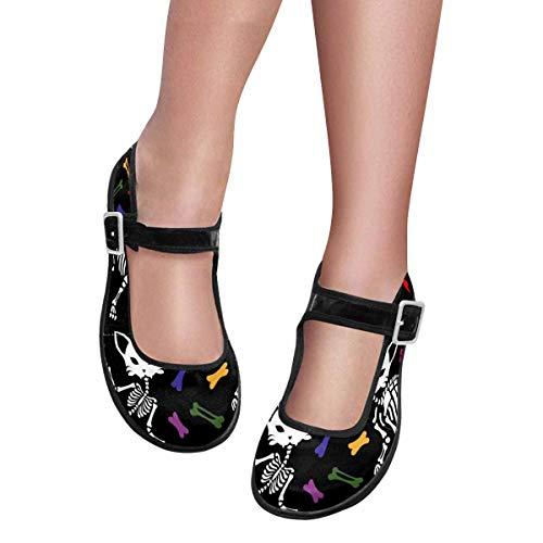(INTERESTPRINT Women's Mary Jane Flats Yoga Exercise Dance Shoes US7 Cats Skull)