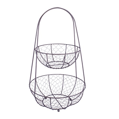 Home Traditions Vintage Metal Chicken Wire 2 Tier Fruit and Vegetable Standing Storage Basket for Kitchen and Pantry